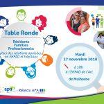 Invitation pour la table ronde ALMA à l'EHPAD de l'Arc à Mulhouse autour de la thématique des relations apaisée en EHPAD et hôpitaux